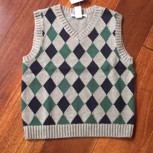 Janie and jack gray green blue sweater vest